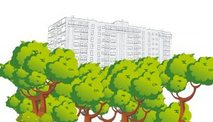 Edificio con arboles